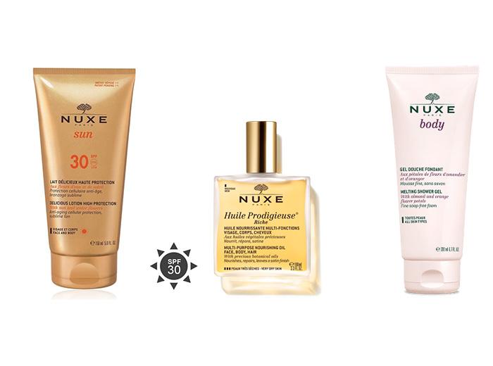 Korting Nuxe verzorgingspakket van olie, zonnebrand en douchegel
